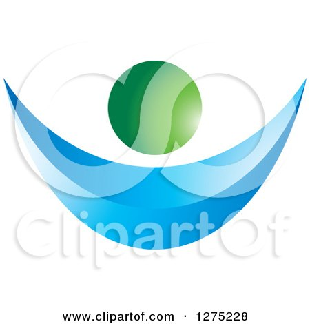 Clipart of a 3d Blue and Green Abstract Person - Royalty Free Vector Illustration by Lal Perera