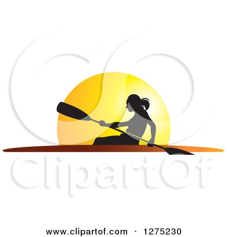 Clipart of a Silhouetted Woman Rowing a Boat Against a Sunset - Royalty Free Vector Illustration by Lal Perera