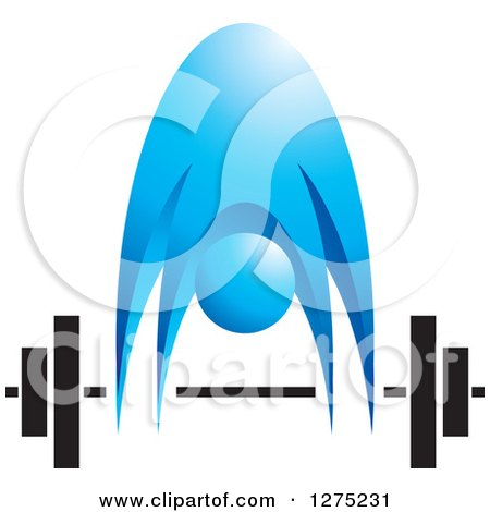 Clipart of a Blue Person Bending over to Pick up a Barbell - Royalty Free Vector Illustration by Lal Perera