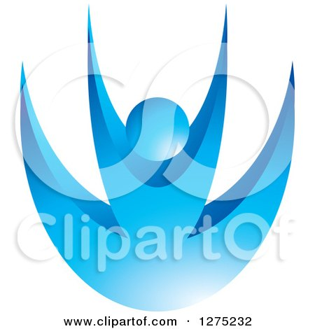 Clipart of a Happy Blue Person Jumping - Royalty Free Vector Illustration by Lal Perera