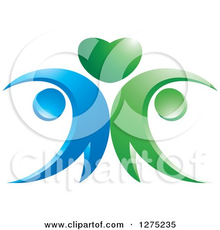 Clipart of a Blue and Green Abstract Couple and Heart Design 2 - Royalty Free Vector Illustration by Lal Perera