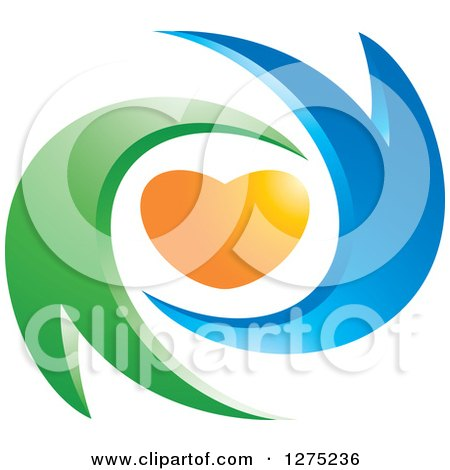 Clipart of a Blue and Green Abstract Couple and Orange Heart Design - Royalty Free Vector Illustration by Lal Perera