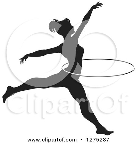 Clipart of a Black and White Silhouetted Acrobatic Woman Leaping with a Hoop - Royalty Free Vector Illustration by Lal Perera