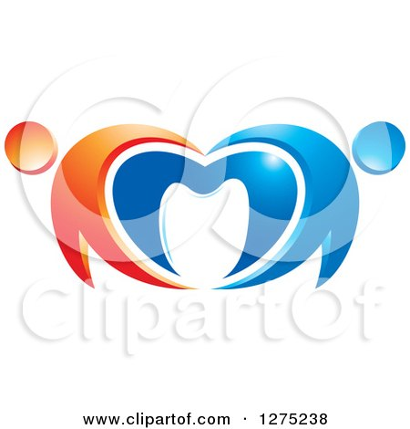 Clipart of a Blue and Orange Abstract Couple Heart and Tooth Design - Royalty Free Vector Illustration by Lal Perera