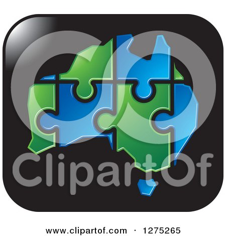 Clipart of a Blue and Green Australia Puzzle Map on a Black Icon - Royalty Free Vector Illustration by Lal Perera