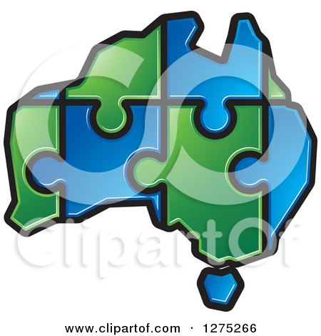 Clipart of a Blue and Green Australia Puzzle Map - Royalty Free Vector Illustration by Lal Perera