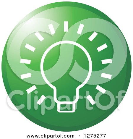 Clipart of a Gradient Green Light Bulb Icon - Royalty Free Vector Illustration by Lal Perera