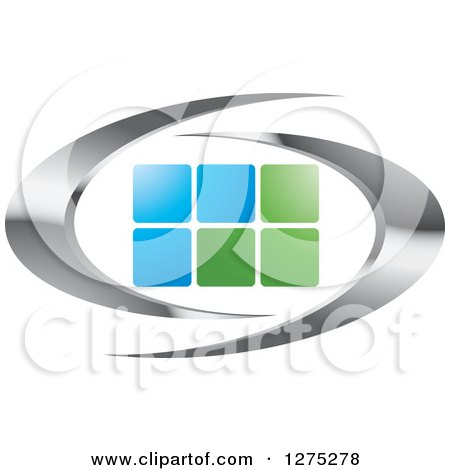 Clipart of Silver Swooshes with Green and Blue Tiles or Windows - Royalty Free Vector Illustration by Lal Perera