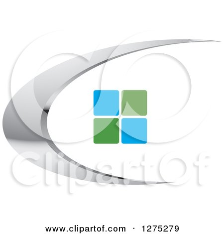 Clipart of a Silver Swoosh with Green and Blue Tiles or Windows - Royalty Free Vector Illustration by Lal Perera
