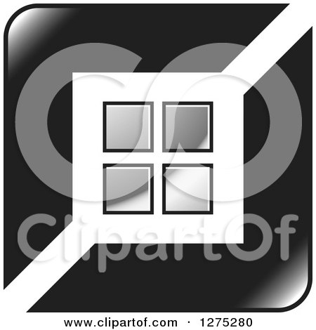 Clipart of a Black Icon with Silver Tiles or Windows - Royalty Free Vector Illustration by Lal Perera