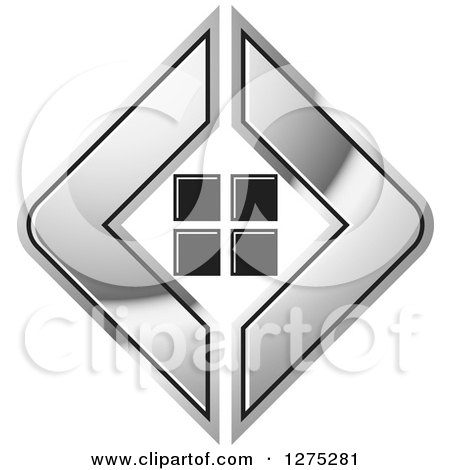 Clipart of a Silver Icon with Tiles or Windows - Royalty Free Vector Illustration by Lal Perera