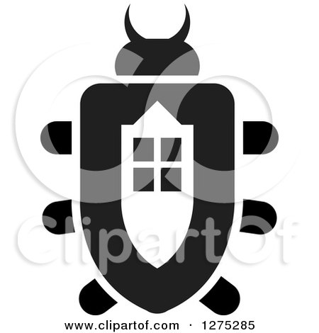 Clipart of a Black and White Window Beetle - Royalty Free Vector Illustration by Lal Perera