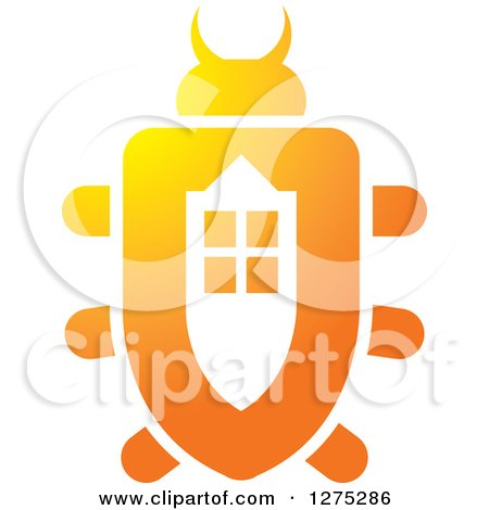 Clipart of a Gradient Orange Window Beetle - Royalty Free Vector Illustration by Lal Perera
