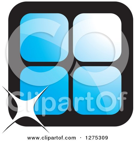 Clipart of Four Blue Cages or Tiles with a Sparkle - Royalty Free Vector Illustration by Lal Perera