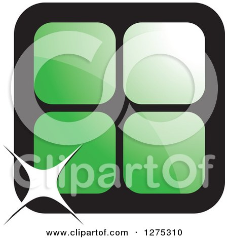 Clipart of Four Green Cages or Tiles with a Sparkle - Royalty Free Vector Illustration by Lal Perera