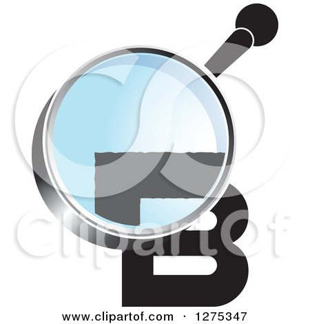 Clipart of a Magnifying Glass over a Black Letter B - Royalty Free Vector Illustration by Lal Perera