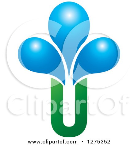 Clipart of a Green Letter U Vase and Blue Water Drops - Royalty Free Vector Illustration by Lal Perera