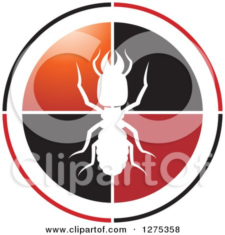 Clipart of a White Silhouetted Termite on a Black Red Orange and Black Circle - Royalty Free Vector Illustration by Lal Perera
