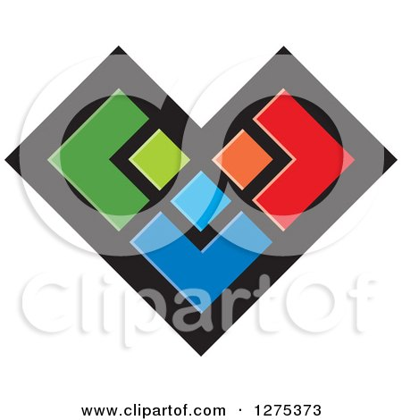 Clipart of a Colorful Geometric Heart - Royalty Free Vector Illustration by Lal Perera