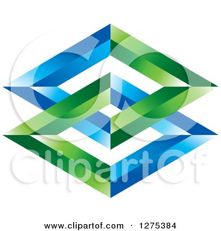 Clipart of a Green and Blue Entwined Diamonds - Royalty Free Vector Illustration by Lal Perera