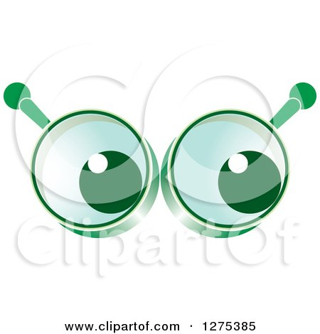 Clipart of Eyes in Green Magnifying Glasses - Royalty Free Vector Illustration by Lal Perera
