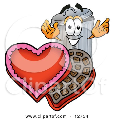 Clipart Picture of a Garbage Can Mascot Cartoon Character With an Open Box of Valentines Day Chocolate Candies by Toons4Biz