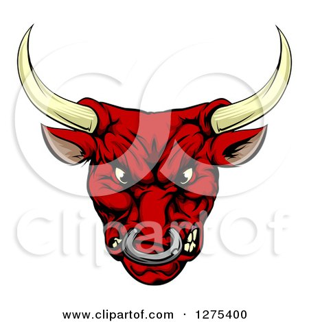 Clipart of a Mad Red Bull Mascot Head - Royalty Free Vector Illustration by AtStockIllustration