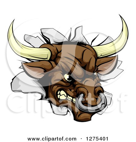 Clipart of a Mad Aggressive Bull Breaking Through a Wall - Royalty Free Vector Illustration by AtStockIllustration