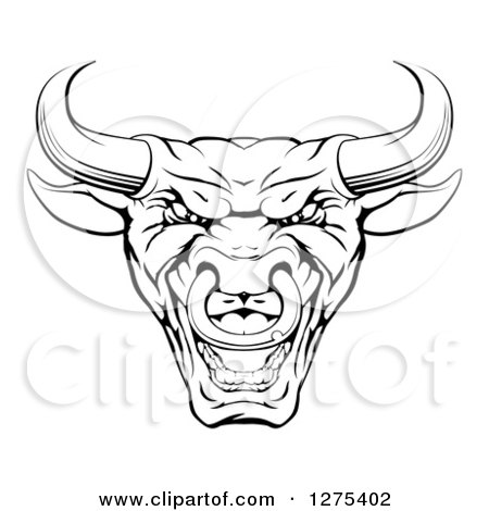 Clipart of a Mad Black and White Bull Mascot Head - Royalty Free Vector Illustration by AtStockIllustration