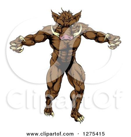 Clipart of a Muscular Angry Brown Boar Man with Claws - Royalty Free Vector Illustration by AtStockIllustration