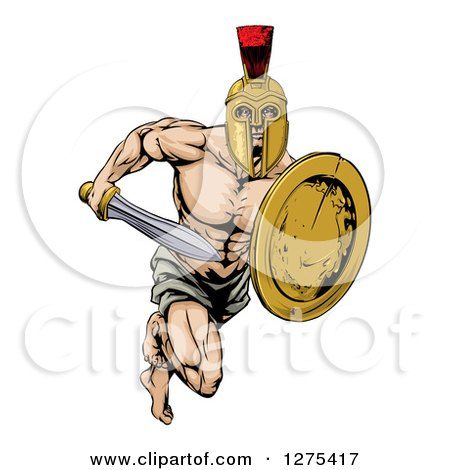 Clipart of a Muscular Gladiator Man in a Helmet Running with a Sword and Shield - Royalty Free Vector Illustration by AtStockIllustration