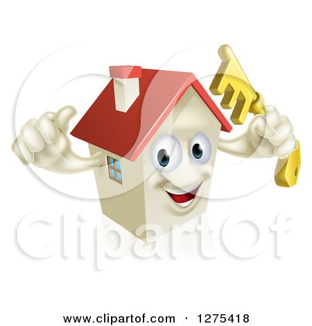 Clipart of a Happy House Character Holding a Thumb up and a Key - Royalty Free Vector Illustration by AtStockIllustration