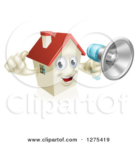 Clipart of a Happy House Character Holding a Thumb up and a Megaphone - Royalty Free Vector Illustration by AtStockIllustration