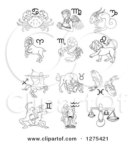 Clipart of Black and White Outlined Astrology Zodiac Animals and Symbols - Royalty Free Vector Illustration by AtStockIllustration
