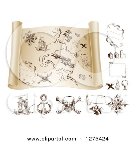 Clipart of a Pirate Treasure Map Scroll and Design Elements 2 - Royalty Free Vector Illustration by AtStockIllustration