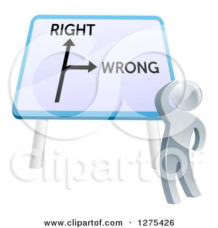 Clipart of a 3d Silver Man Looking up at a Right and Wrong Directional Sign - Royalty Free Vector Illustration by AtStockIllustration