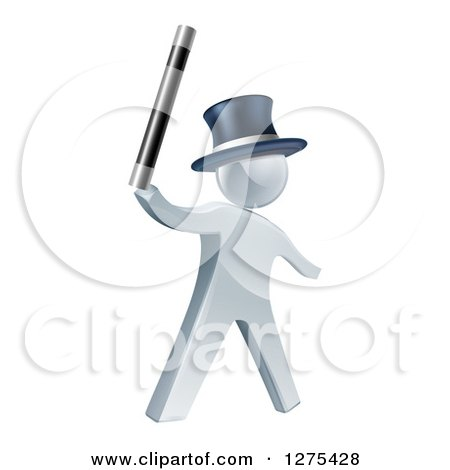 Clipart of a 3d Silver Man Magician Holding up a Wand and Wearing a Top Hat - Royalty Free Vector Illustration by AtStockIllustration