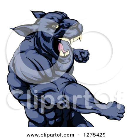 Clipart of a Mad Muscular Black Panther Man Mascot Punching - Royalty Free Vector Illustration by AtStockIllustration