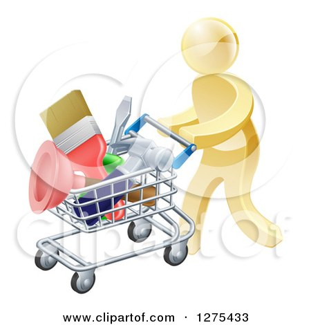 Clipart of a 3d Gold Man Pushing a Shopping Cart Packed with Tools - Royalty Free Vector Illustration by AtStockIllustration