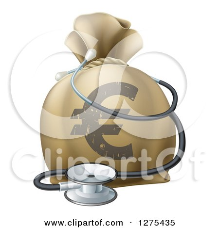 Clipart of a 3d Euro Currency Symbol Money Bag and Stethoscope - Royalty Free Vector Illustration by AtStockIllustration