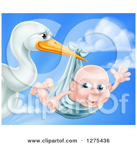Clipart of a Stork Bird Holding a Baby Boy in a Bundle Against a Cloudy Blue Sky - Royalty Free Vector Illustration by AtStockIllustration