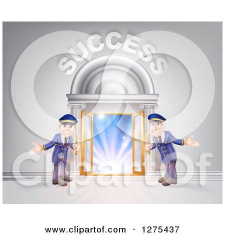 Clipart of a Venue Entrance with Welcoming Doormen and Success Text over Light - Royalty Free Vector Illustration by AtStockIllustration