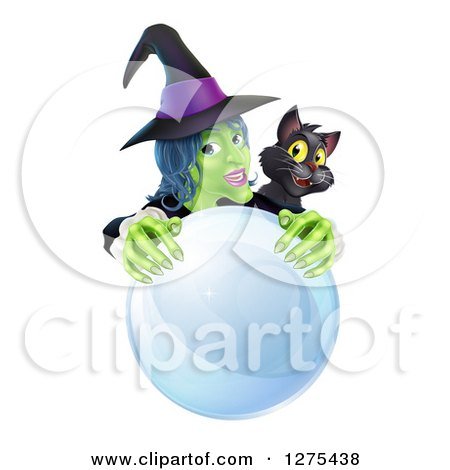Clipart of a Green Halloween Witch and Black Cat Behind a Crystal Ball - Royalty Free Vector Illustration by AtStockIllustration