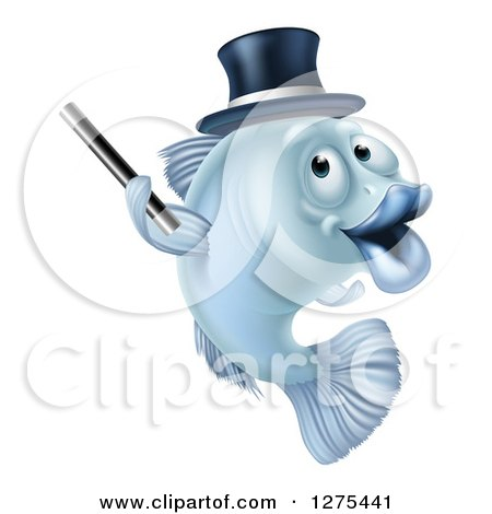 Clipart of a Blue Magician Fish Holding a Wand and Wearing a Hat - Royalty Free Vector Illustration by AtStockIllustration