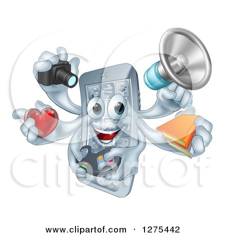 Clipart of a 3d Happy Smart Phone Character Multitasking with a Megaphone, Books, Gamer Controller, Heart, and Camera - Royalty Free Vector Illustration by AtStockIllustration