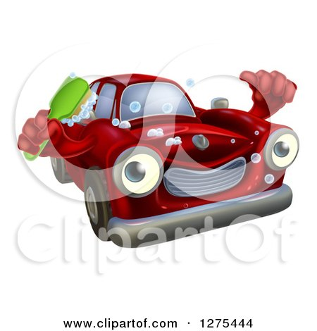 Clipart of a Red Car Character Holding a Thumb up and a Scrub Brush - Royalty Free Vector Illustration by AtStockIllustration