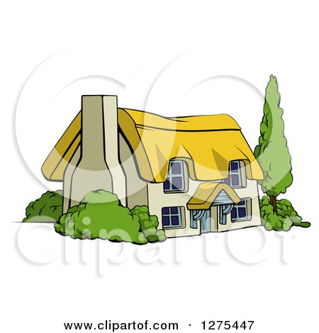 Royalty-Free (RF) Cottage Clipart, Illustrations, Vector Graphics #1