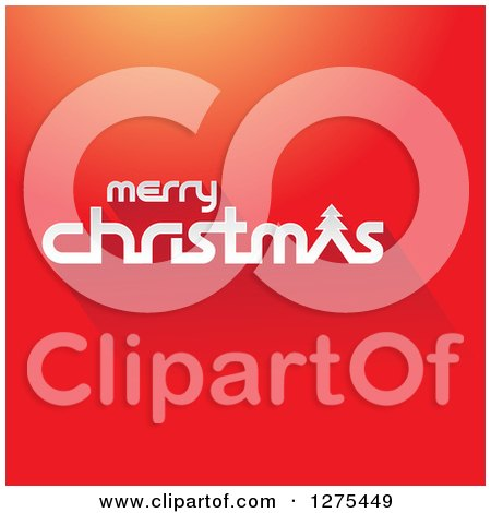 Clipart of a White Merry Christmas Greeting on Gradient Red - Royalty Free Vector Illustration by cidepix