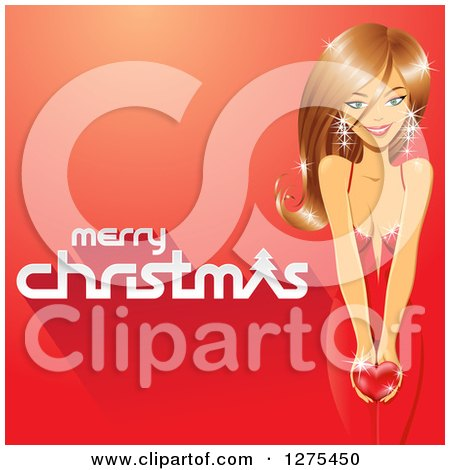 Clipart of a Merry Christmas Greeting with a Beautiful Caucasian Woman Holding a Heart on a Red Background - Royalty Free Vector Illustration by cidepix