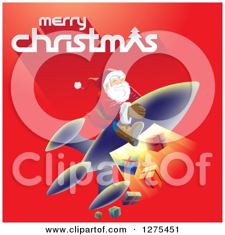 Clipart of a Merry Christmas Greeting with Santa Flying on a Rocket and Releasing Gifts on a Red Background - Royalty Free Vector Illustration by cidepix
